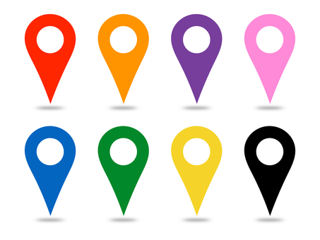 Map pin pin map with white circle shadow