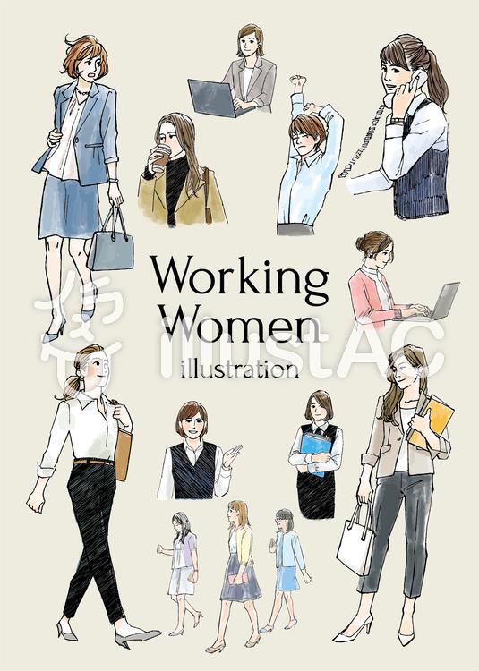 働く女性イラストイラスト No 1187369無料イラストならイラストac