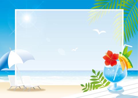 夏天海海滩消息框架
