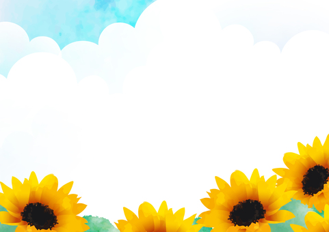 Summer sky and sunflower frame 2