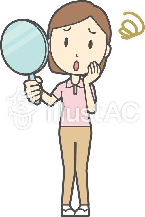 半袖ポロシャツ女性-178-全身のイラスト