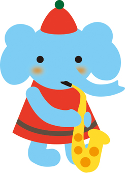 Elephant blowing saxophone