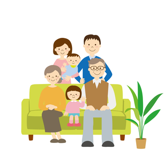 Three generations family sofa
