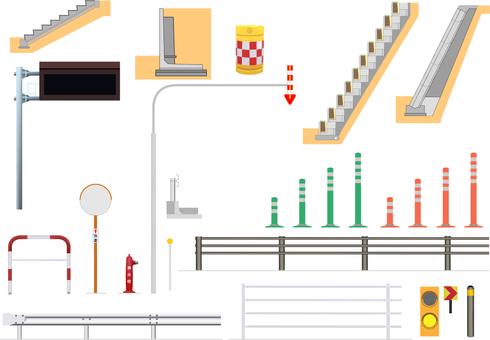 A set of illustrations of road facilities