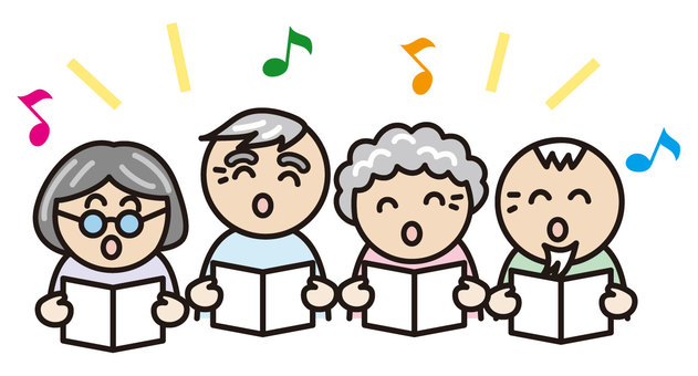 Elderly people singing songs