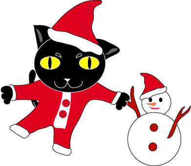 Christmas with black cat
