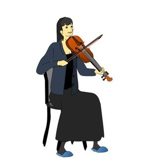 앉아 바이올린을 연주 여자