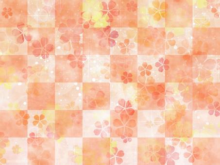 Cherry blossom watercolor orange