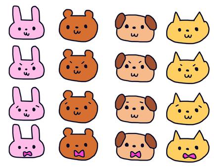Various animal facial expressions