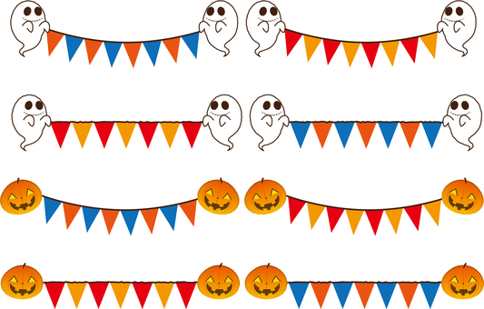 Ghost and pumpkin line