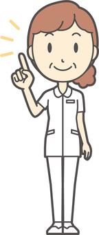 Middle-aged women nurse white coat-224-whole body