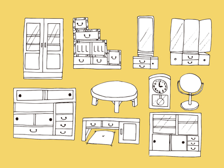 Showa furniture (line drawing)