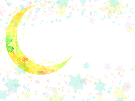Hand-painted watercolor moon and starry sky background frame card / sideways