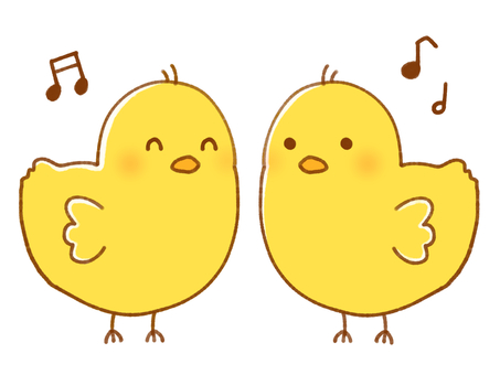Two chicks (with music notes)