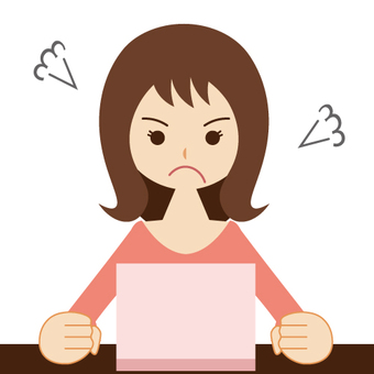 A woman who uses a personal computer · a housewife (angry face)
