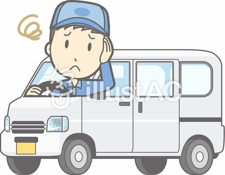 車01-軽バン-困った-全身のイラスト