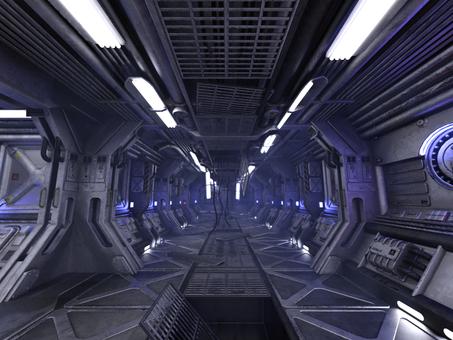 明るい事故後の宇宙船内の通路(靄付き)