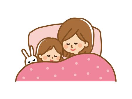 眠っている母と女の子