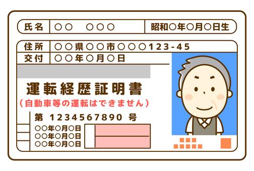Senior male driving history certificate