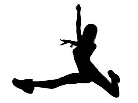 Beautiful jumping woman silhouette