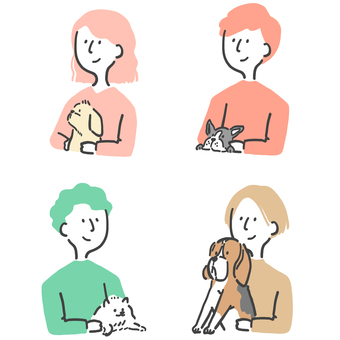 Dog, person, illustration set
