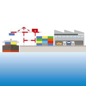 Port facility Crane Warehouse Container