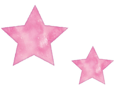 Watercolor style star pink