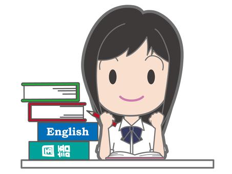 School girl who studies