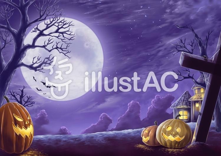 ハロウィン風景イラストのイラスト