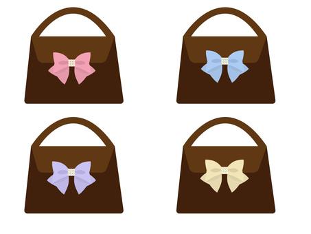 Cute handbag with ribbon
