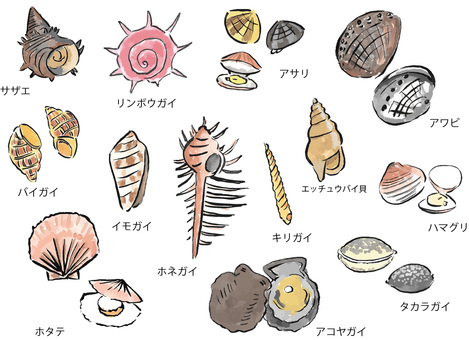 Various shellfish (brush)