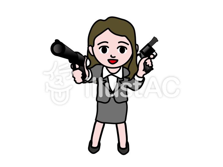ビジネス女性 二丁拳銃イラスト No 1159155無料イラストなら