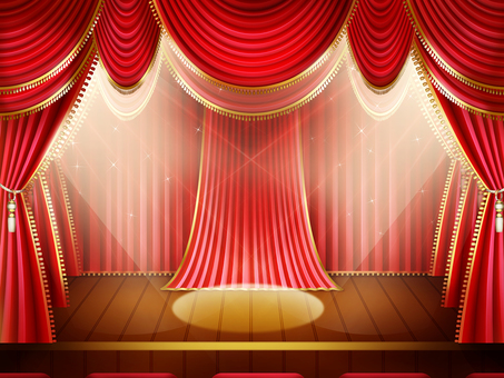 Illumination stage background frame in red curtain