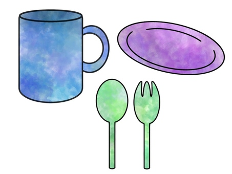 Basic tableware (colorful)