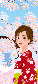 Cherry blossoms and women (vertical)