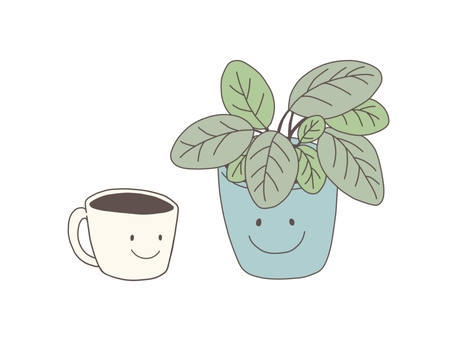 Coffee and houseplant (smile)
