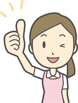 圍裙白色外套粉紅色-048  - 胸圍