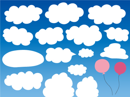 Material set of clouds and balloons