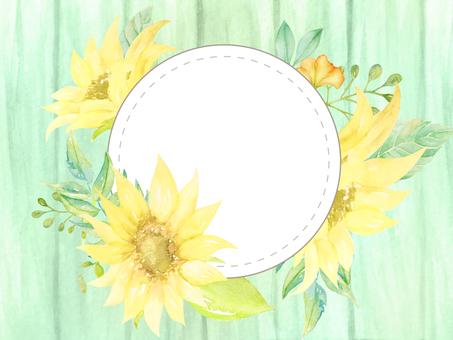 Watercolor hand-drawn sunflower circular frame (wood grain green)