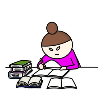 Studying lady