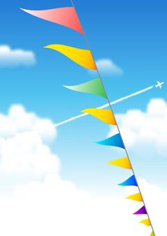 깃발과 비행운