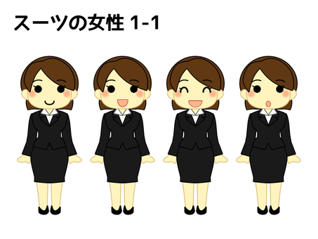 Woman in suit 1 standing pose 1