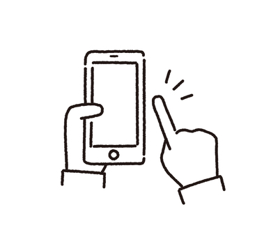Smartphone operation line drawing