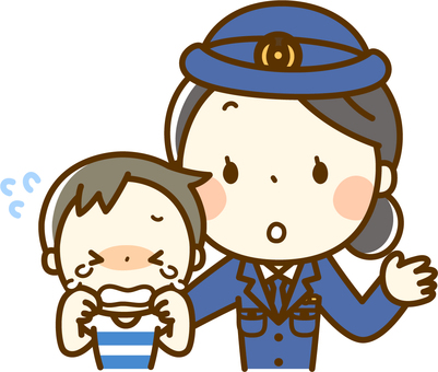 Crying child and police officer