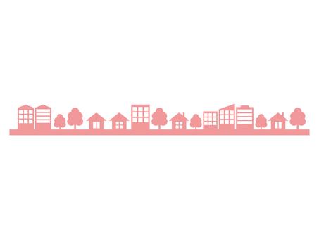 City street silhouette pink