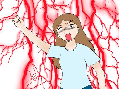 Angry woman raising hand 2