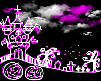 Halloween castle and a certain scenery White pink world