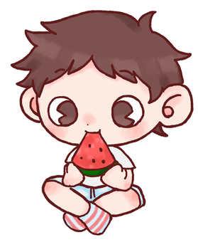 Boy biting watermelon