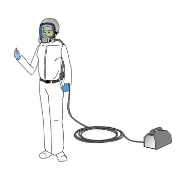Male worker wearing air mask