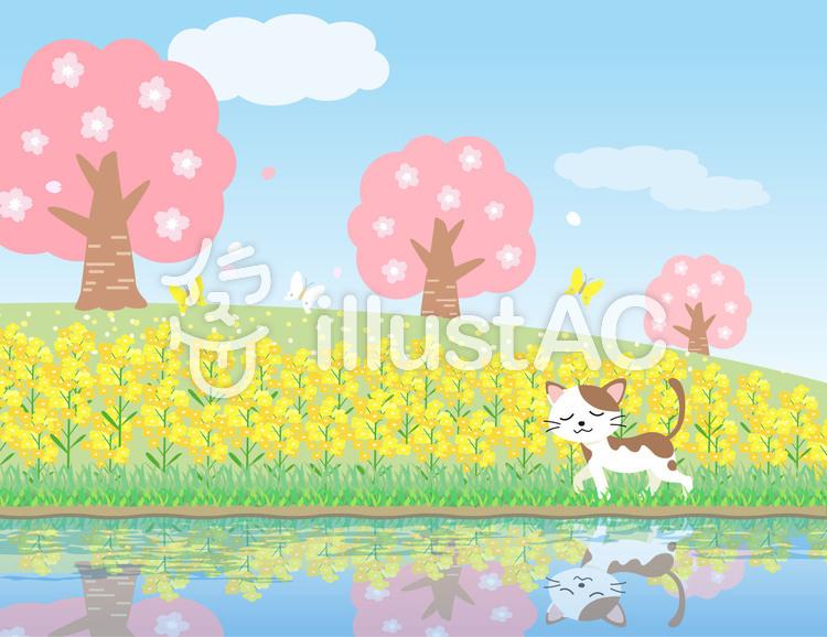 春のお散歩 ねこ イラストのイラスト